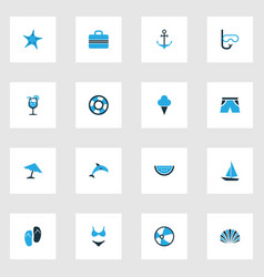 Season colorful icons set collection of lifebuoy vector