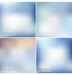 Set of blue blurred smooth winter backgrounds vector image