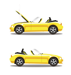 set of broken cartoon yellow cabriolet sport car vector image