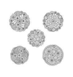 set of five decorative black floral mandalas vector image