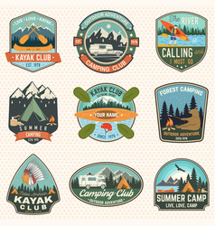 set of summer camp canoe and kayak club badges vector image