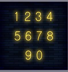 Set of yellow neon numbers vector