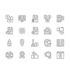 Set quick loan line icons investment car loan vector