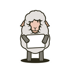 Sheep mascot with tablet with your text vector