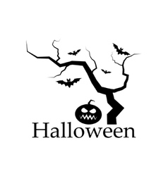 Silhouette of Halloween tree pumpkin and bats vector image