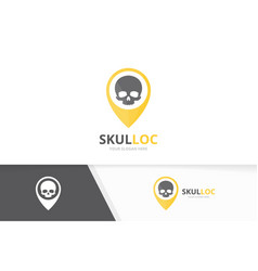 skull and map pointer logo combination vector image