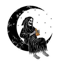 skull grim on moon vector image