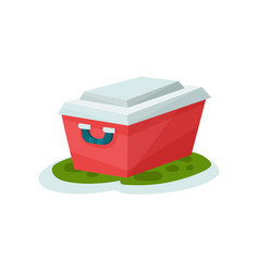 Small portable fridge outdoor traveling element vector