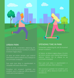 Spending time in urban park collection of posters vector
