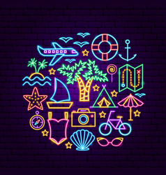 summer travel neon concept vector image
