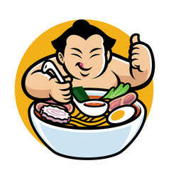 sumo with cartoon style eating ramen vector image