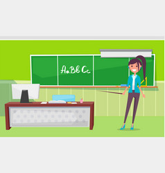 teacher standing near chalkboard with letters vector image