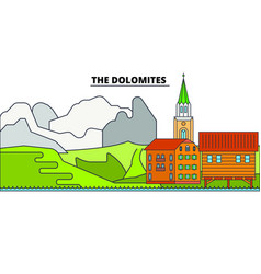 the dolomites line travel landmark skylin vector image
