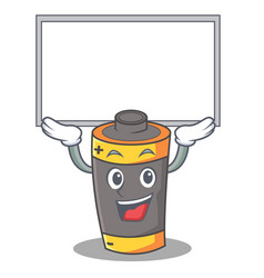 up board battery character cartoon style vector image