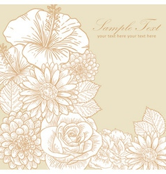 Vintage floral greeting card vector image