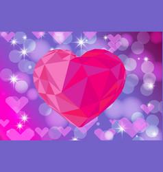 Vivid bokeh with big crystal heart background vector