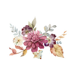 watercolor bouquet with burgundy autumn vector image