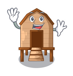 Waving chiken coop isolated on a mascot vector