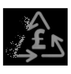 White dissolved dotted halftone recycling pound vector