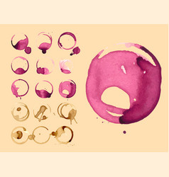 Wine and coffee staiin spots splashes cup vector