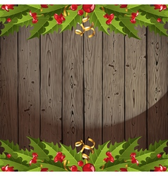 Wooden back with holly vector
