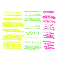 yellow highlighter brush lines hand drawing vector image