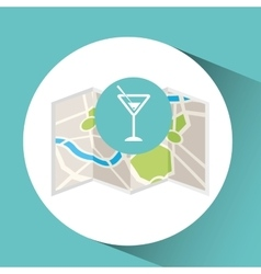 Cocktail drink map pin pointer design vector