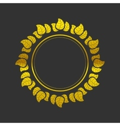 Golden frame with leaves vector image
