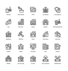 real estate line icons set 4 vector image vector image