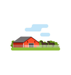 red barn horse in the corral on farm rural vector image vector image