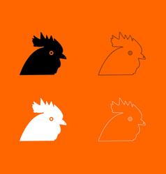 rooster head black and white set icon vector image