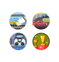 set of race icons vector image