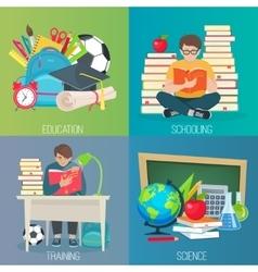 Back to school education banner set vector image