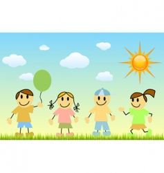 children with nature vector image vector image