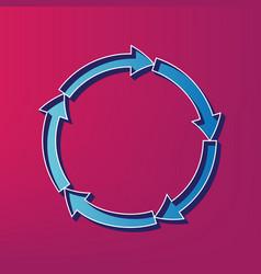 circular arrows sign blue 3d printed icon vector image