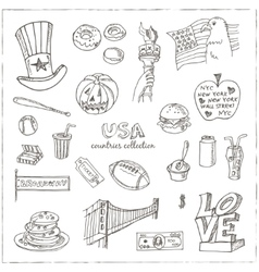 Hand drawn doodle USA symbols set vector image vector image