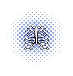 Human rib cage icon comics style vector image vector image