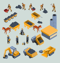 Mine quarry workers and machines isometric vector