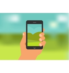 mobile phone game app hand with smartphone vector image vector image