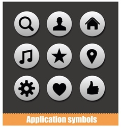 Application pictogram symbols set silver color vector
