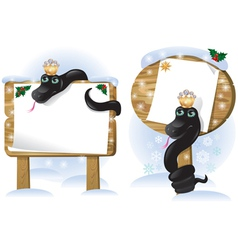 Black snake wooden sign vector image vector image