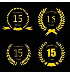 Celebrating 15 Years Anniversary - Golden Laurel vector image vector image