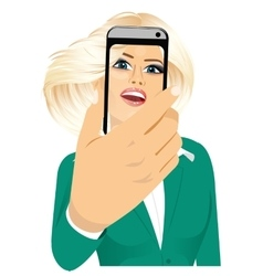 happy woman taking a selfie using her smartphone vector image vector image