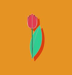paper sticker on stylish background plant tulipa vector image vector image