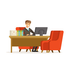smiling businessman working with a computer at his vector image