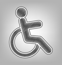 disabled sign pencil sketch vector image