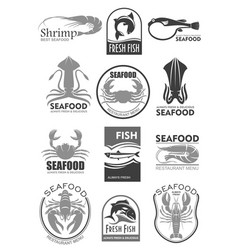icons for seafood fish food restaurant menu vector image vector image