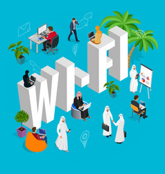 isomeric wi-fi concept web site computer online vector image