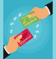 sending and receiving money with a credit card vector image