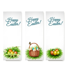 Three Happy Easter banners with easter eggs in a vector image vector image